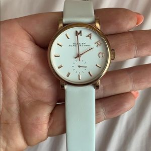 Marc Jacobs white and rose gold watch